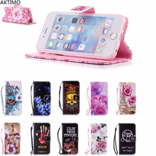 Love Flower Skull Printing Fashion Flip Leather Case For iPhone 6 6S Luxury Phone Shells Cover For iPhone 6 6S Capa Fundas