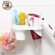 Home Storage Holder Sucker Hair Dryer Racks Bathroom Shelves Wall Hanging Comb Cosmetic Toothbrush Toothpaste Organizer(China)
