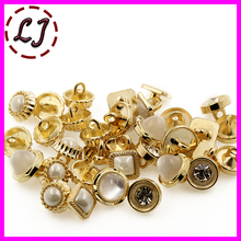 New arrived 20pcs/lot beautiful decoration pearl gold metal buttons snaps sewing crafts for women clothing scrapbooking