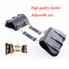 Buy High quality pvc leather armcuffs Adjustable size handcuffs slave bdsm bondage adult sex toys couples Tuning arm cuffs