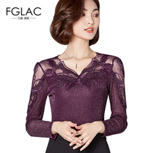 Buy FGLAC Women blouses New Arrivals 2017 Autumn Mesh tops Women Fashion Elegant Slim blouse shirt long sleeved Diamonds women tops for $12.33 in AliExpress store