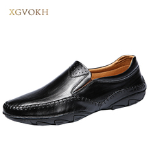 Mens Slip On Driving Shoes Casual Boat Deck Moccasin Loafers Leather Classic Men's xgvokh brand Leisure Casual black flats(China)