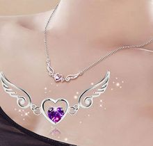 Big Sale Girlfriend Gift Fashion Silver-color Jewelry Necklace Purple Heart Zironia Angle Wing Design Women Pendant bijoux