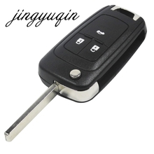 jingyuqin Flip Folding Key Shell for Chevrolet Cruze Remote Key Case Keyless Fob 3 Button Uncut HU100 Blade for Chevrolet