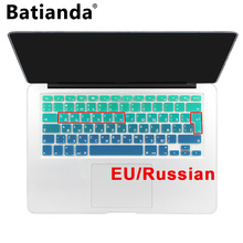 "Silicone EU/UK Russian alphabet Gradient Colors Keyboard Cover Stickers Protector for MacBook Air 13"" MacBook Pro 13"" 15"" Retina(China)"