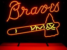 "Business Custom NEON SIGN board For MLB ATLANTA BRAVES REAL GLASS Tube BEER BAR PUB Club Shop Light Signs 17*14""(China)"
