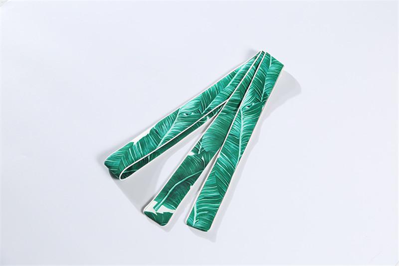 Brand Fashion Two Piece Set Women Runway Suit Fashion Green Leaf Print Dragonfly Beading Shirt + Elastic Waist Pants Sets 18