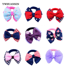 YWHUANSEN 6pcs/lot Girls Elastic Hair Bands Bow Knot Kids Hair Holders Soft Nylon Hair Ties High Quality Hair Accessories