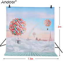 Andoer 1.5 * 2m Photography Background Backdrop Ballons Rainbow Blue Sky Pattern for Kids Baby Photo Studio Portrait Shooting(China)