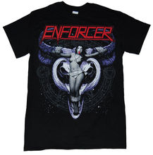 2018 Best T Shirts New Enforcer Cow Girl Shirt Black Heavy Metal Band (SMALL) Men Streetwear T-Shirt(China)