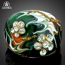 AZORA Unique design Gold Color Flower Stellux Austrian Crystal Oil Painting Pattern Ring TR0054