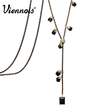 Viennois New Light Gold & Gun Plated Long Chain Necklace Multiple Black Flowers Charm Pendants Necklaces For Women Girls