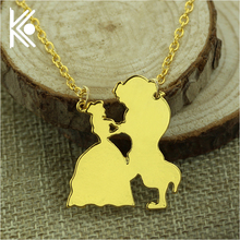 Beauty and the Beast Necklace Gold Color Silver Color Beauty and the Beast Jewellery Pendant Necklace Women gift lion jewelry