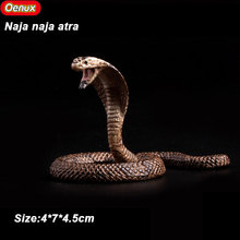 Oenux Savage Snakes Animals Model 3PCS Rattlesnake Python Cobra Action Figures Toy Solid PVC Lifelike Animal Models For Boy Gift(China)
