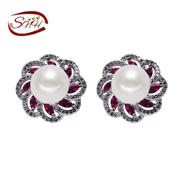 100% естественных пресноводных жемчужные серьги лучшие качества стерлингового серебра 925 серьги стержня женская мода ювелирные изделия на продажу