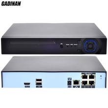 GADINAN H.265 HEVC/H.264 4CH Channel Max 4K 5MP 48V POE NVR CCTV IEE802.3af Video Network Recorder P2P Onvif For H.265 IP Camera