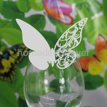 50pcs Ice white/Purple/Blue/Black Butterfly Name Place Cards Wedding Dinner Table Cup Decor(China)