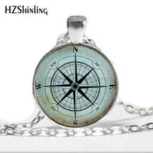 Glass Dome Necklace Vintage Compass Necklace, Compass Rose, Wind Rose, Nautical Jewelry, Sailor's, Ocean Art Pendant HZ1(China)