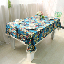 Cotton Linen Tablecloth Decor Cover Home Classic Style Folk Retro Printing with Lace Wedding Table Cloth Round Table Cover Set