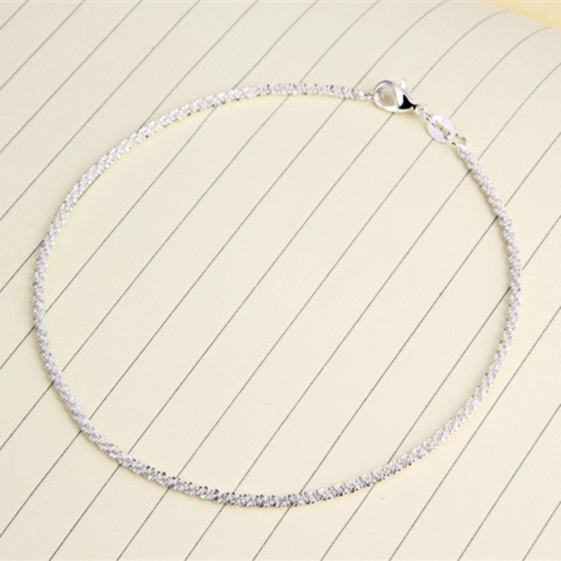 2017 Simple And Generous Small Hemp Rope Ankle 925 Silver Jewelry Anklets For Women Foot Bracelet Enkelbandje Anklet(China)