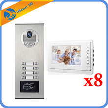 8 Units Intercom Kits Apartment Wired Video Door Phone RFID HID Card Audio Visual Intercom System(China)