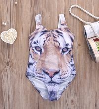 Baby Girls Swimwear Kids Clothes 2017 Summer Brand Baby Girls Swimsuit Tiger Animal Print Toddler Swimwear for Girls 1-6Y