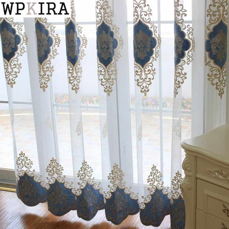 High Quality Linen Embroidered Curtain Bedroom Window Tulle Gauze Grey Voile Curtains For Living Room Curtain Finished C008&40