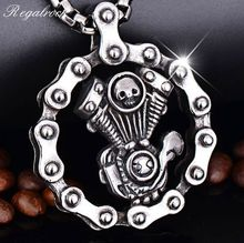 Regalrock Steampunk Skull Engine Motorcycle Chain Biker Pendant Necklace(China)
