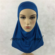 Free Fast Shipping Plain Amira Hijab For Kids 2 Pcs Pure Color Muslim Cotton Jersey Scarves Islamic Clothing Khimar Jilbab