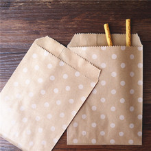 15CM*10CM polka dot  kraft Craft Paper Popcorn DIY  bag Food Safe Favor Paper birthday bags Designs of Party Paper Bags