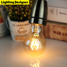 A60 Soft LED Filament Edison Bulb gold spiral LED lamp vintage lighting amber retro saving lamp 220-240V 2W E27 B22 warm white(China)