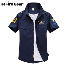 Men's Military Air Force Pilot Shirt Casual Cotton Embroidery Short Tactical Shirts Man Airborne Flight Navy Blue Army Shirt