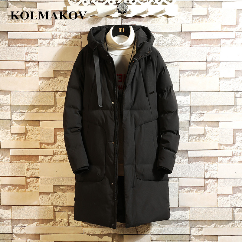 KOLMAKOV 2018 Men's Clothing New Winter Parkas for Men Long Thicken Hooded Cotton Parka L-5XL Top Quality Solid Dress Homme
