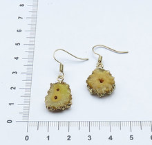 YA1118 Yellow color Stalactite Slice Geode Druzy Stone Hook Earring
