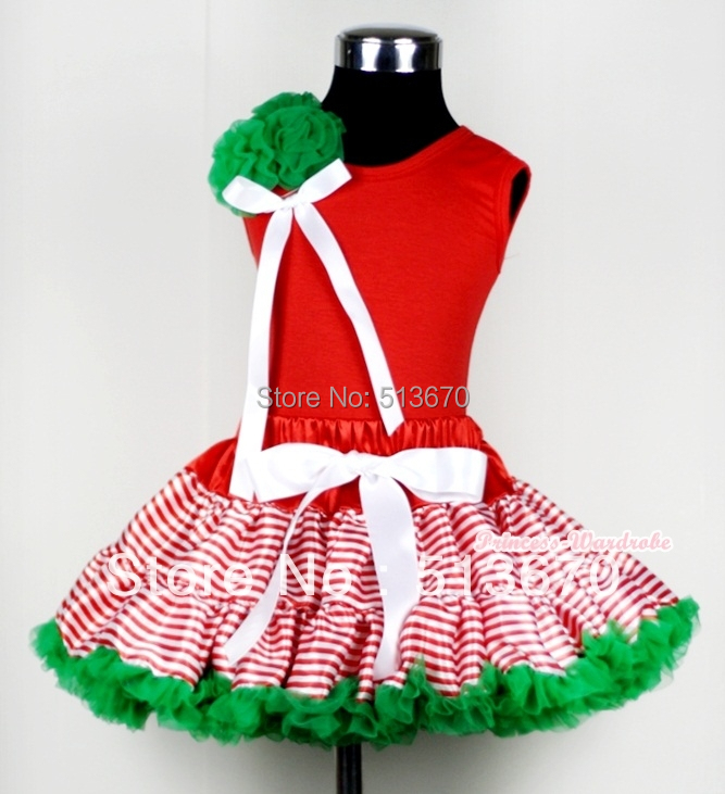 Red White Striped mix Christmas Green Pettiskirt with a Bunch of Kelly Green Rosettes and White Bow Red Tank MAM453<br>