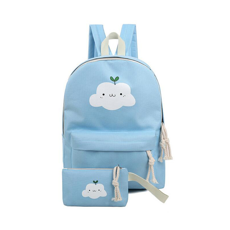 HOT Fashion 2 Set travel backpack cartoon clouds printing women backpacks casual canvas Teenagers Girls school bags Rucksack<br><br>Aliexpress