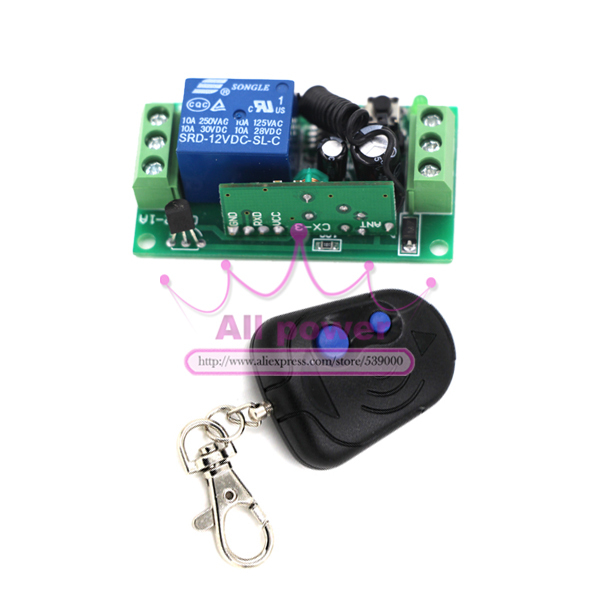 DC 12v 10A relay 1CH wireless switch RF remote control switch 315/433 MHZ Transmitter Receiver<br><br>Aliexpress
