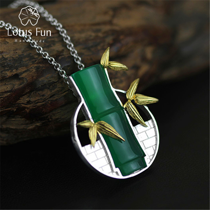 Lotus Fun Brand 925 Sterling Silver Pendant for Women Green Chalcedony Bamboo with Leaf Wall Pendant without Chain Fine Jewelry