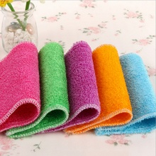 6 Color Dish Cloth Bamboo Fiber Washing Towel Magic Kitchen Cleaning Wiping Rags Towel