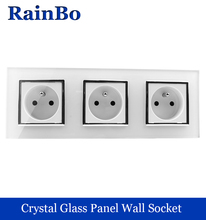 rainbo manufacturer France Standard power Socket Glass Panel AC Wall Power smart outlet Free Shipping Factory A38F8F8FW/B(China)