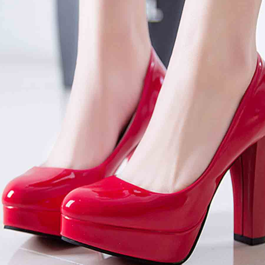 Fashion Women round Toe comfortable Pumps Slip on crude  All Match Sexy High Heels Patent Leather rubber simple Casual shoes<br><br>Aliexpress