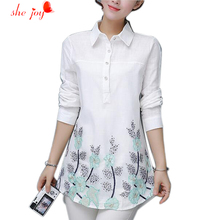 Blouse Spring 2017 Turn Down Collar Women Embroidery Long Style Clothings Long Sleeve Organza Ladies Elegant Cotton Shirts(China)