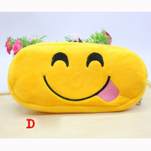 Creative Emoji Velvet Zipper Closed Pencil case Bag Pencil Makeup Storage Bag Stationery Storage Bag School Supplies Kids Gift
