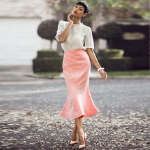 2016 Top Trendy Mermaid Long Skirts Sweet Pink Special Design Tea Length Fashion Women Skirts Chic Invisible Zipper Custom Made(China)