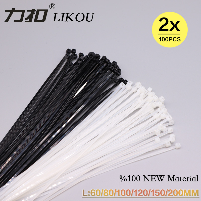 "Pack of 100pcs 14"" Black Nylon Cable Tie Zip Heavy Duty Plastic Wire"