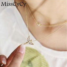 MissCyCy 2016 New Wholesale Fashion Rhinestone Angel Womens Pendant Necklace For Women