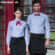 2018 spring fast food restaurant uniform super maket workwear pink striped waiter shirt waitress clothes with bowknot tie(China)