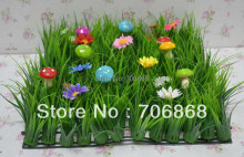 20 pieces artificial long grass mat boxwood mat with silk flowers and colorful mushrooms