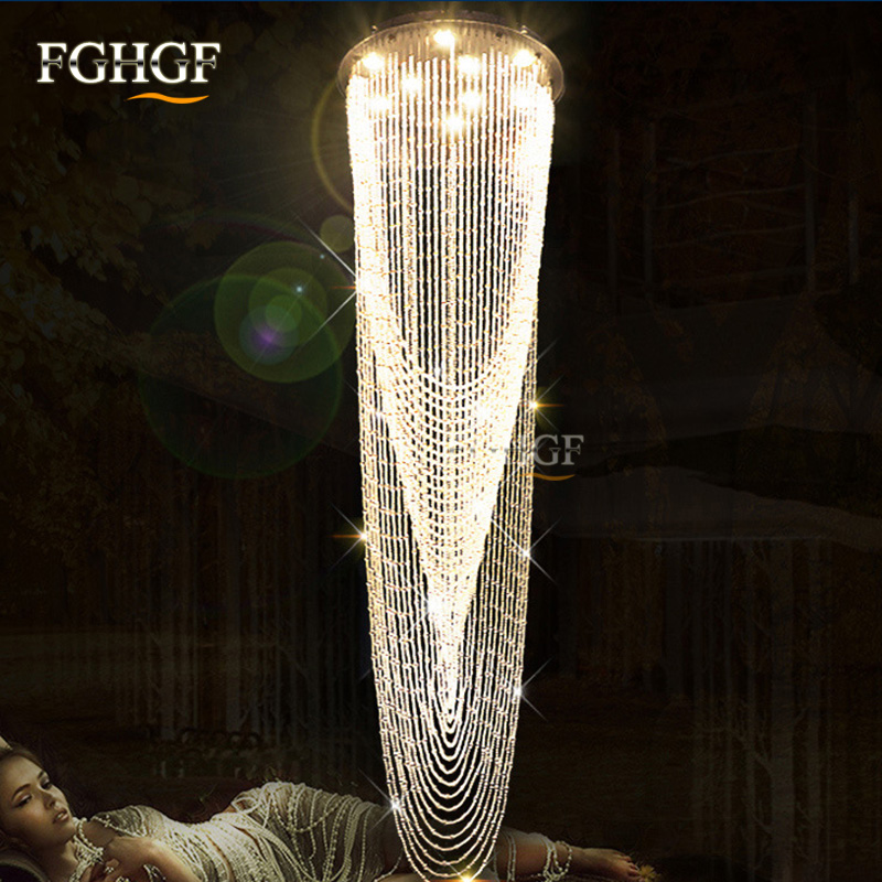 Luxury Large Crystal Chandelier Light Fixture for Lobby Staircase Stairs Foyer Long Spiral Crystal Light Lustre Chandeliers Lamp (2)