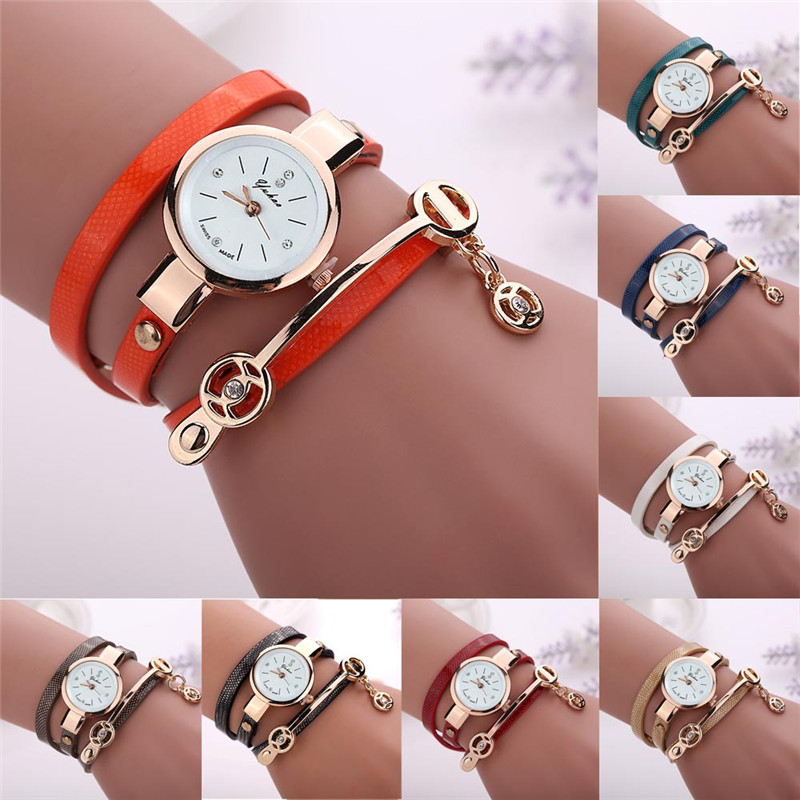 2017 FHD Superior New Hot Selling Women Metal Faux Leather Strap Lady Wrist Watch<br><br>Aliexpress